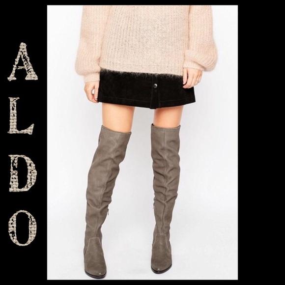 853444facef Aldo Chiaverni Leather Flat Over Knee Boots Sz 6.5